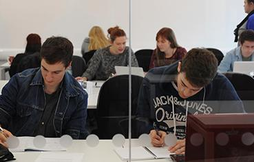 Students working in the Maths Hub