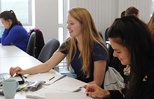 Final-year students working together in the Maths Hub