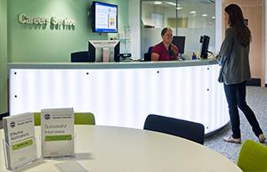 The Careers Service helpdesk in the Main Library