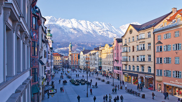 Innsbruck with the Alps in the background